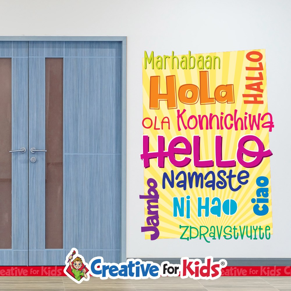 Hello in 10 different languages greeting signage creative for kids tap to expand m4hsunfo